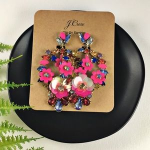 NWT J.Crew Pink Wreath Statement Clip-On Earrings